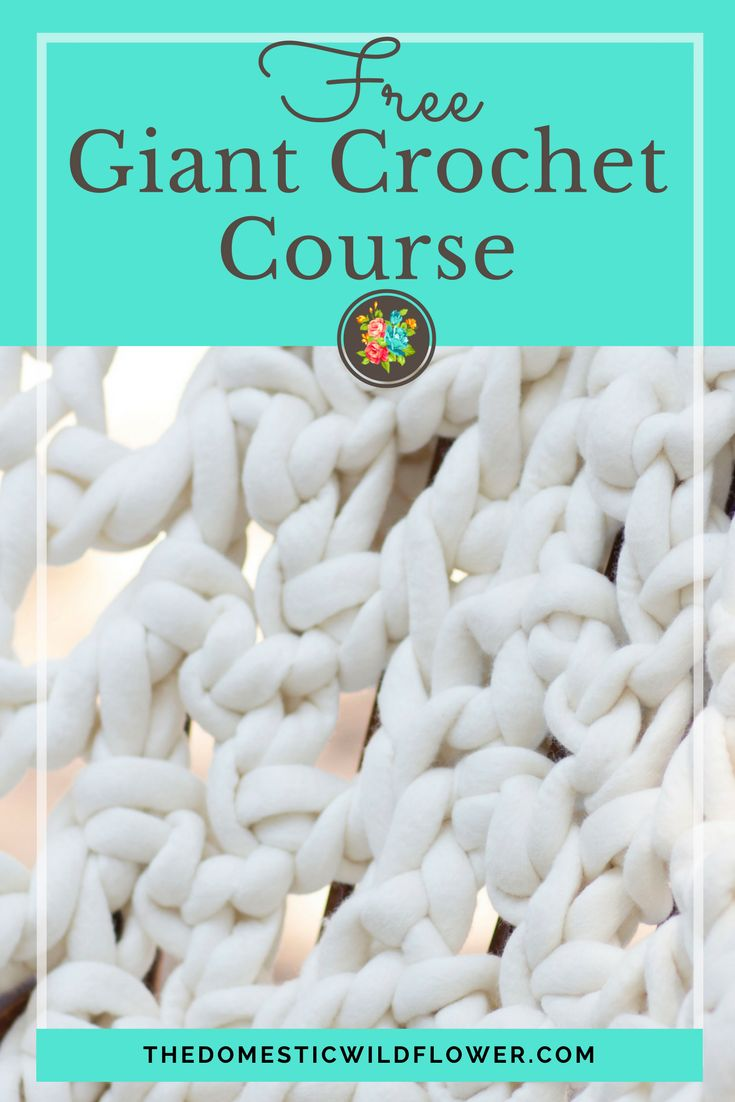 Sign up for the free course that will teach you to crochet (super easy video tutorial!) and gives the tutorials for 5 giant crochet projects! This course is so helpful- such a wide range of projects, with info on where to get the best really big yarn! Sign up for this course now!