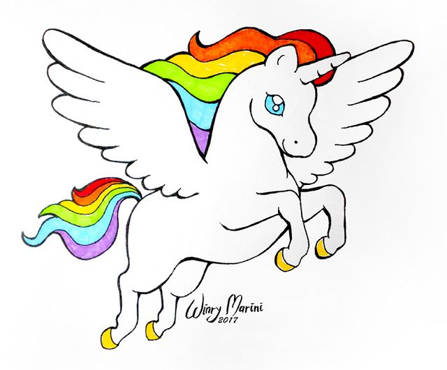 Rainbow Winged Unicorn Wings Drawing Unicorn Wings Rainbow Art