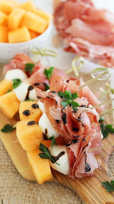 Melon, Prosciutto, and Mozzarella Skewers.  For Mother's day brunch!
