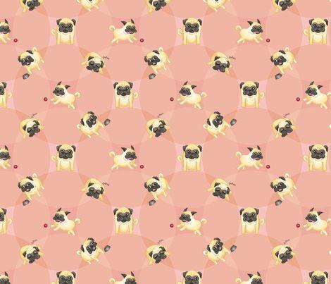 Pugs! (Pink) fabric by jaana on Spoonflower - custom fabric