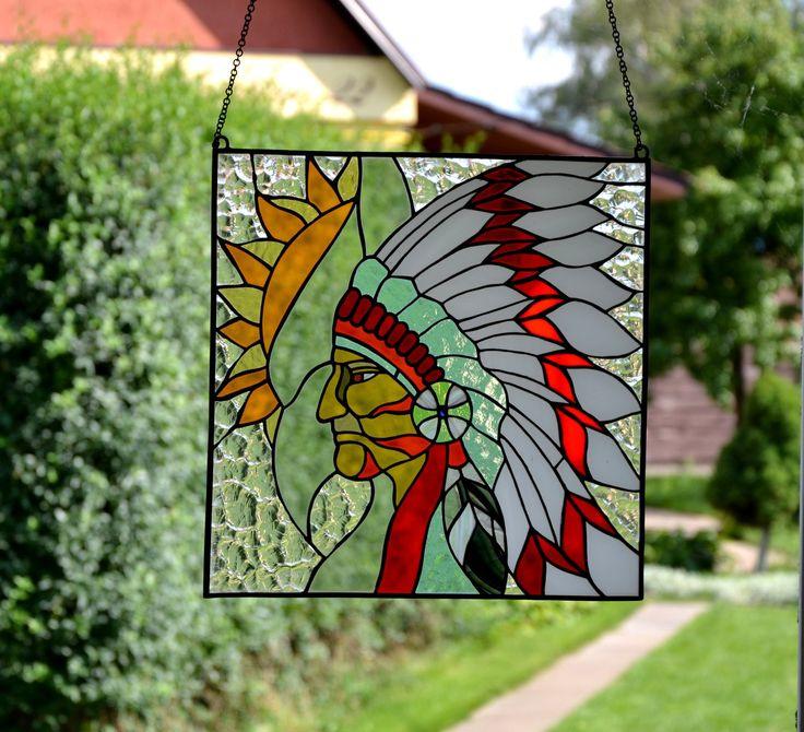 Indian Stained Glass Panel Tiffany Method Suncatcher