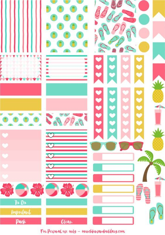FREE Printable Tropical Beach Life Planner Stickers BY Munchkins and the Military: