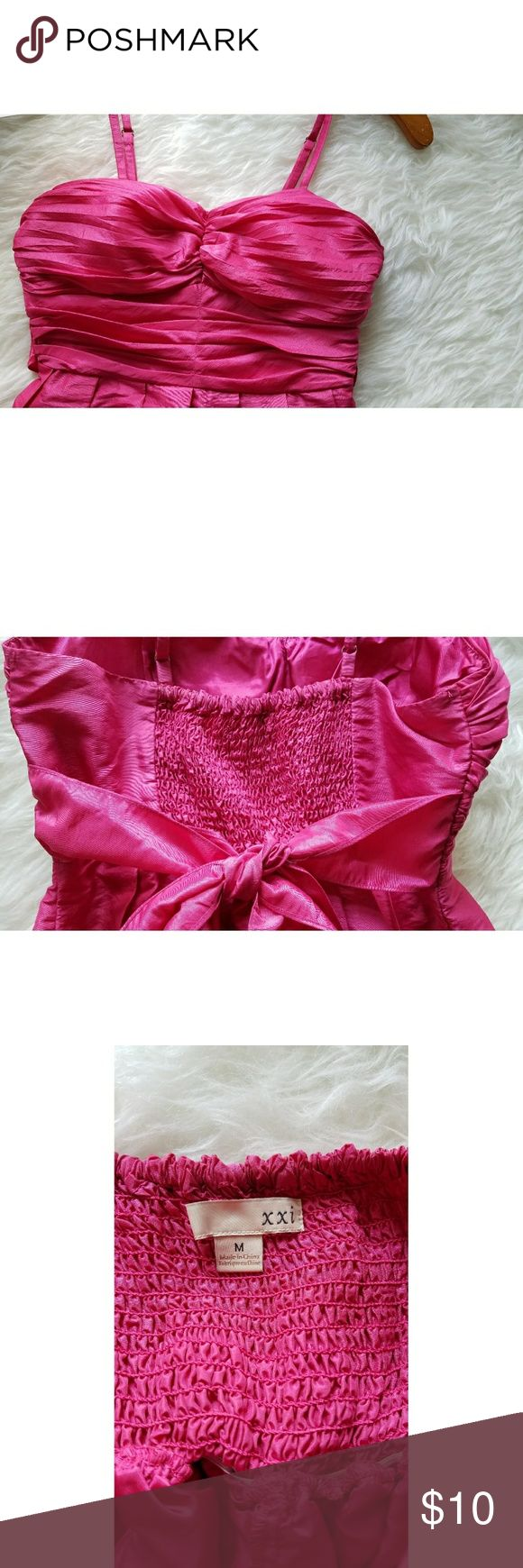 Hot Pink Dress Worn once, good condition but has one small, light stain on front of dress (see last 2 pics of close-ups).  Smoke-free, pet-free home. Forever 21 Dresses Prom