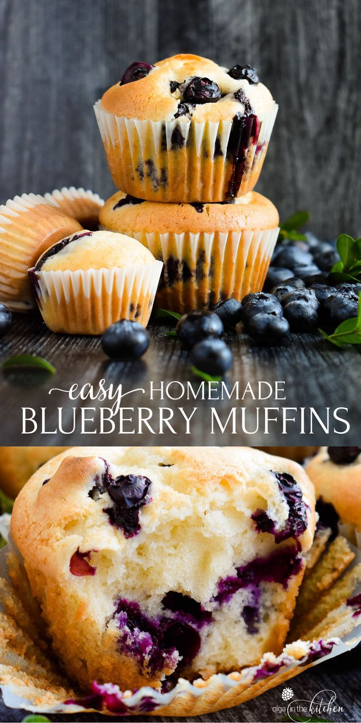 Sour Cream Blueberry Muffins Olga In The Kitchen Recipe In 2020 Sour Cream Blueberry Muffins Homemade Blueberry Muffins Blue Berry Muffins