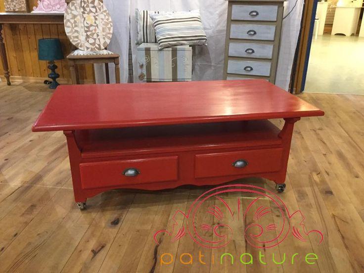 table basse rouge pompier peinte la cas ine et. Black Bedroom Furniture Sets. Home Design Ideas