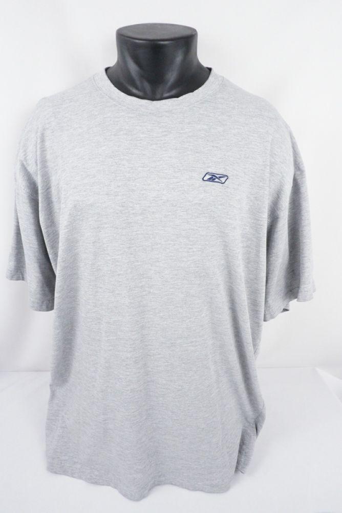 da81a1f294198 Vintage Reebok Embroidered Logo Solid Gray SS T-shirt Men's Adult Sz ...
