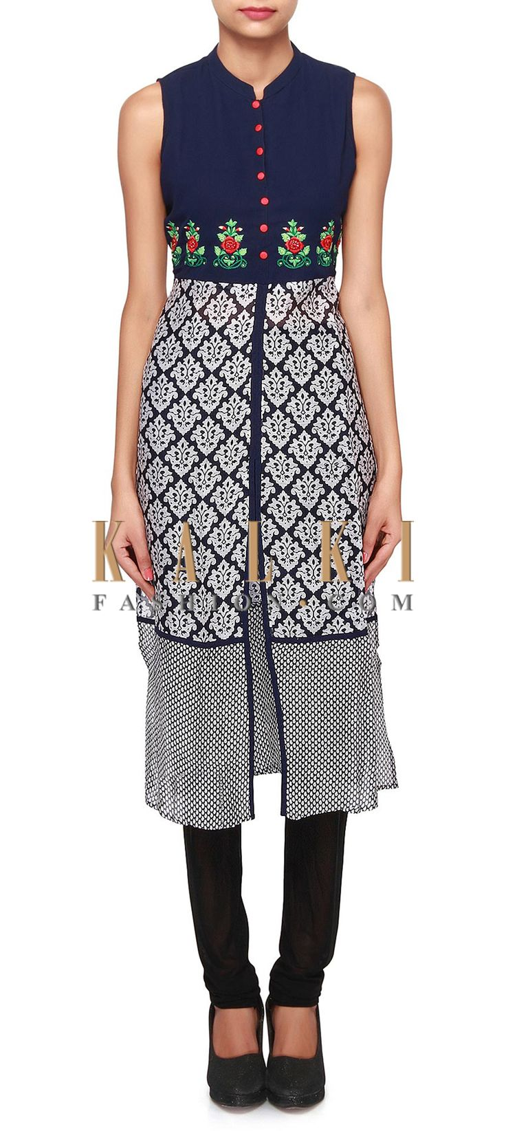 Buy Online from the link below. We ship worldwide (Free Shipping over US$100). Product SKU - 309618.Product Link - http://www.kalkifashion.com/navy-blue-kurti-featuring-with-resham-embroidery-only-on-kalki.html