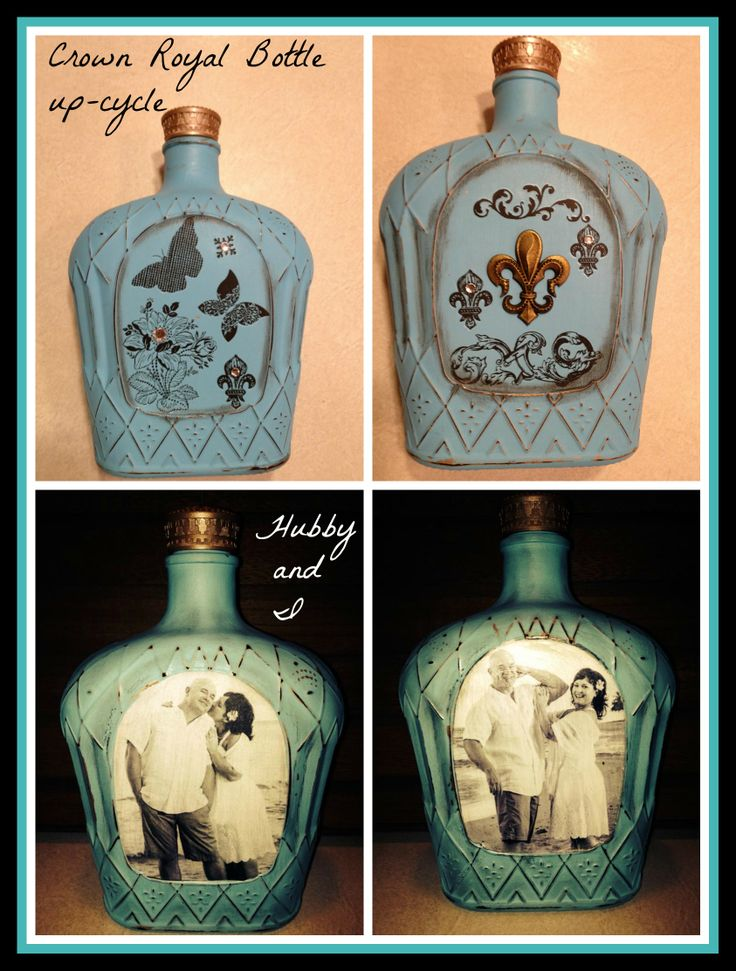 This is my Crown Royal Bottle up-cycle.  I got this idea of painting the bottles on Pinterest. I did add my own flare when it came to decorating.  I decoupaged pics of me and my hubby on the bottom bottle using plain typing paper.  Now to figure out what to put in them!  Bath salts?  More Crown?