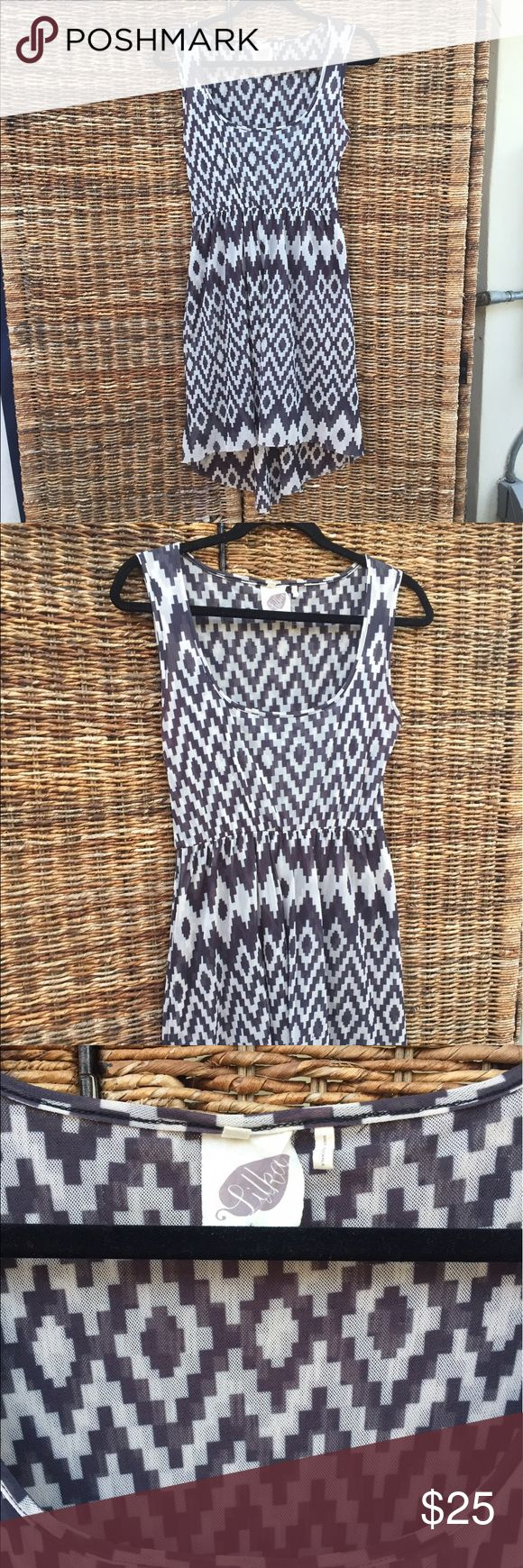 Anthro Aztec print dress Double lined high low dress Anthropologie Dresses Midi