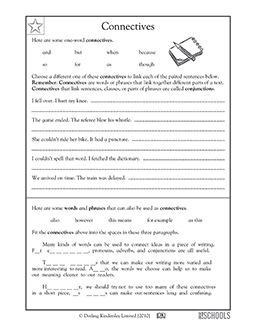 3rd grade 4th grade writing worksheets connectives conjunctions writing worksheets. Black Bedroom Furniture Sets. Home Design Ideas