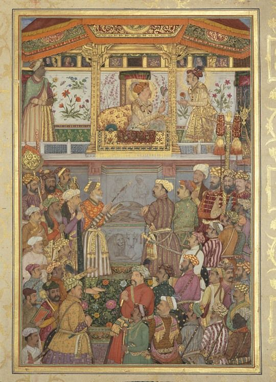 This scene shows one of two occasions in 1617. In October 1617 Prince Khurram, having returned victorious from the Deccan, was awarded the title Shah-Jahan (King of the World) by his father. A month later he was presented with an important family jewel.