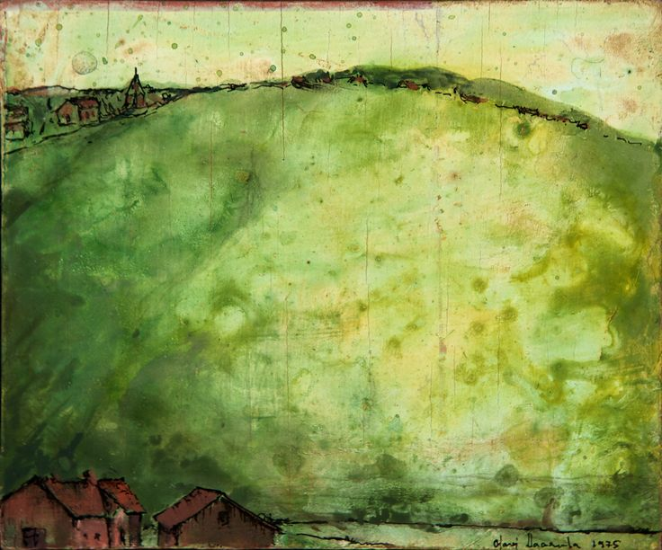 Olavi Vaarula: Ehtoo, 1975, öljy, 13x17 cm - Hagelstam K131