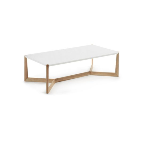 The Canyon rectangle coffee table has gorgeous lines and detail. The top features a stylish timber notch detail from the leg. This modern table features warm gr