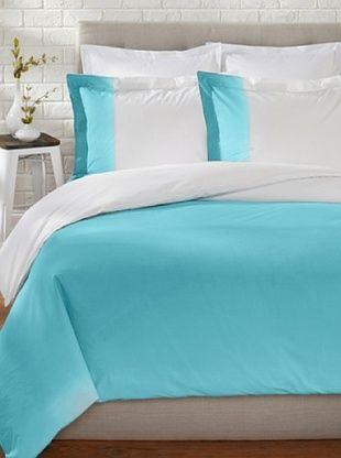 76% OFF OYO Bedding Dip-Dye Percale Duvet Set (Turquoise/White)