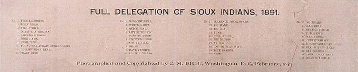 Делегация Сиу, Вашингтон округ Колумбия, февраль 1891 года. Фото C.M. Bell. Legends of the West Signature Auction #6159. 11 июня 2016 года, Даллас.