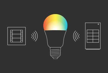 Pametni sistemi razsvetljave na osnovi standarda ZigBee® Light Link, npr. Philips Hue ali Osram Lightify, so posebno priljubljeni pri končnih uporabnikih, ki se odločijo za nadgradnjo. Upravljalni elementi Gira za ZigBee® Light Link omogočajo brezhibno funkcijsko in oblikovno integracijo tovrstnih sistemov v program stikal Gira.
