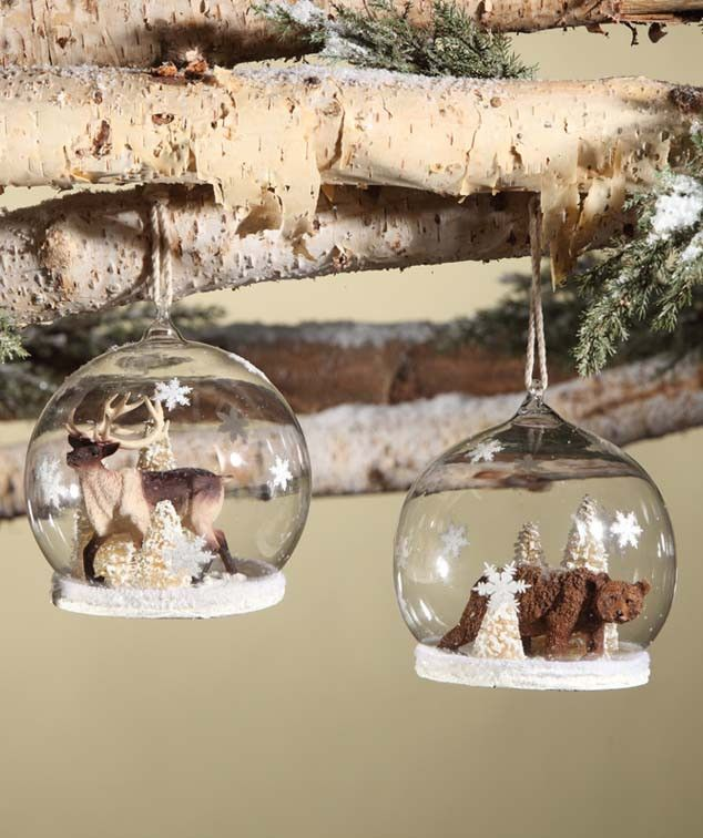 Large Woodland Snow Globe Ornament with Reindeer and Bear | Bethany Lowe Christmas Collection at TheHolidayBarn.com