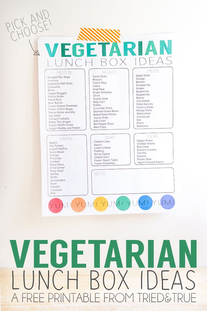 Use this Vegetarian Lunch Box Ideas free printable to help you prepare school lunches!