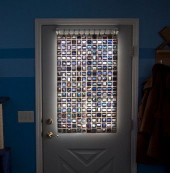 Recycle Old Photo Slides into a Colorful Privacy ScreenIdeas, Windows Covers, Windows Curtains, Sliding Curtains, Film Sliding, Old Photos, Diy Curtains, Diy Projects, Stained Glasses