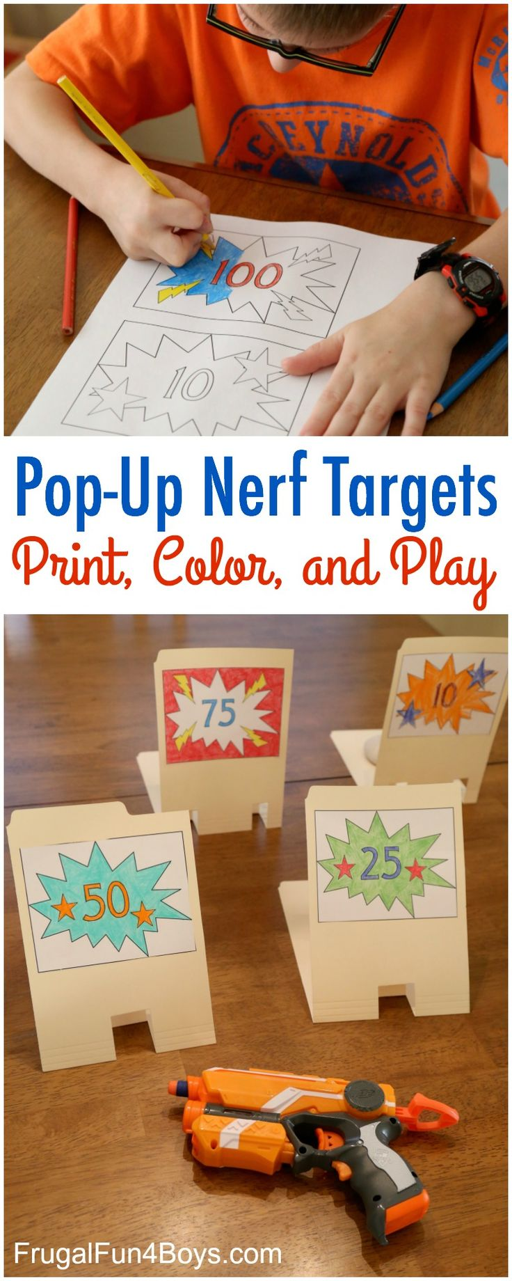 How to Make File Folder Pop-Up Nerf Targets - Print the template from the post! The targets knock down and pop back up again.