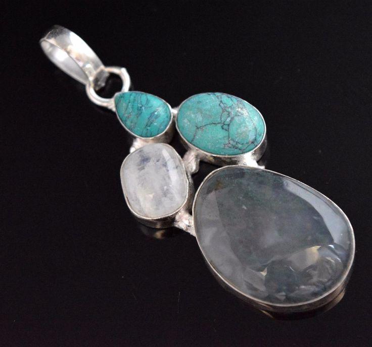 Moss Agate-Rainbow Moonstone-Simulated Turquoise 925 Silver Plated Pendant E59 #valueforbucks #Pendant