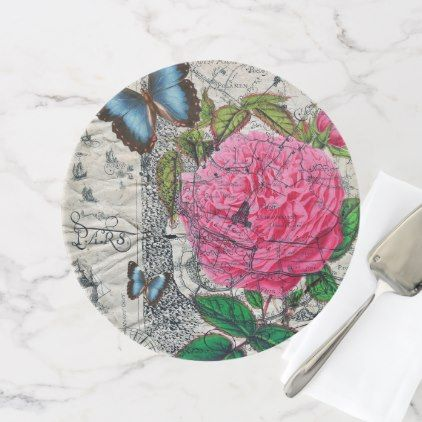 vintage rose butterfly map cake stand - rose style gifts diy customize special roses flowers