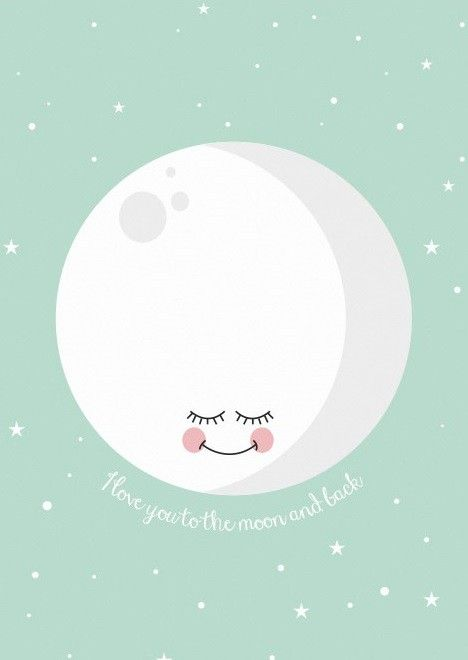 Poster love you to the moon mint 29.7 x 42 cm by Eef Lillmor | PSikhouvanjou