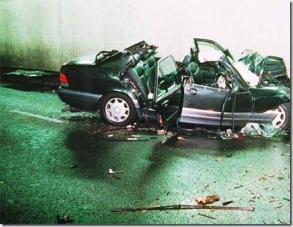 The car carrying Diana, Princess of Wales, after the accident in 1997.
