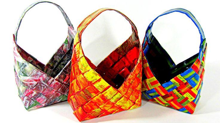 En este tutorial te muestro cómo hacer cestas hechas con papel super fáciles de hacer y que sirven tanto para guardar cosas, como decorar, para hacer regalos...