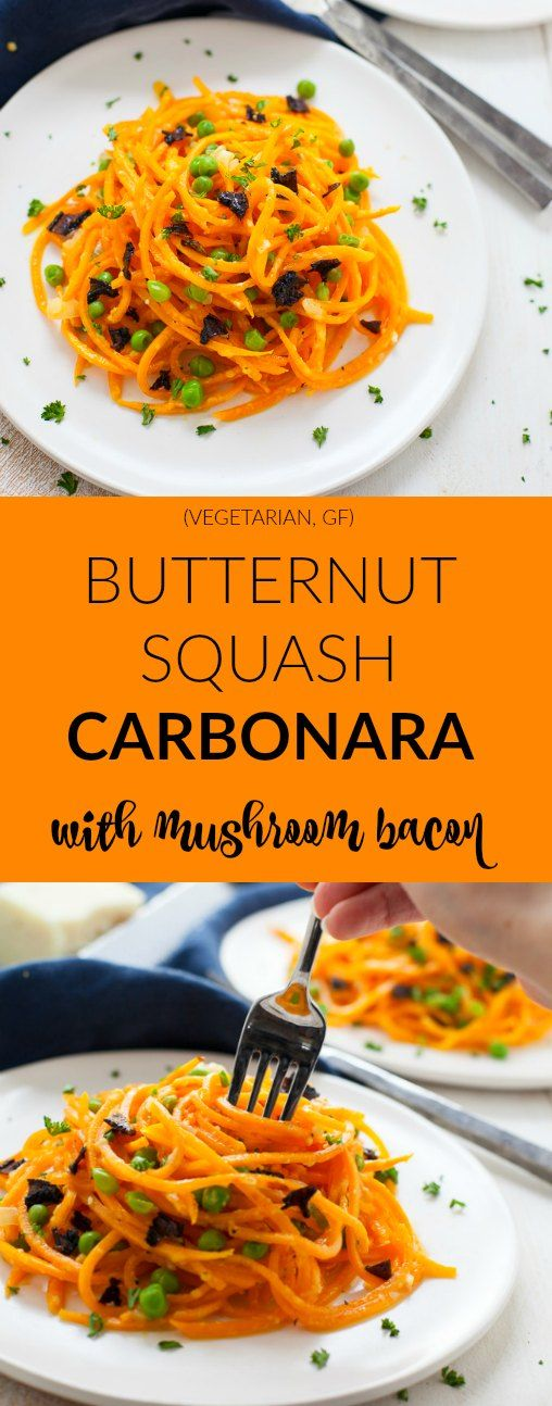 Comfort food with a twist. This Butternut Squash Noodles Carbonara with Mushroom Bacon is a great way to add more veggies to your plate!