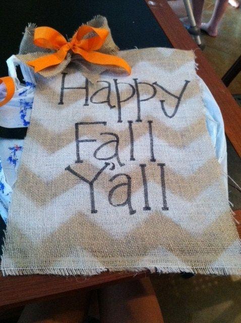 Happy Fall Y'all Fall Garden Flag - burlap garden flag, orange bow on Etsy, $16.00