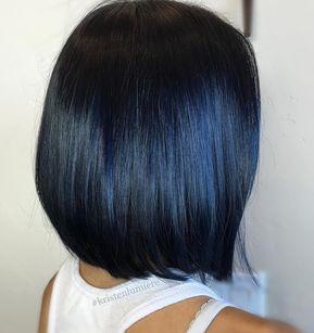 Cabelo preto azulado: 40 inspirações e dicas para cuidar e pintar em casa [VÍDEOS] | Hair color for black hair, Black hair dye, Hair highlights