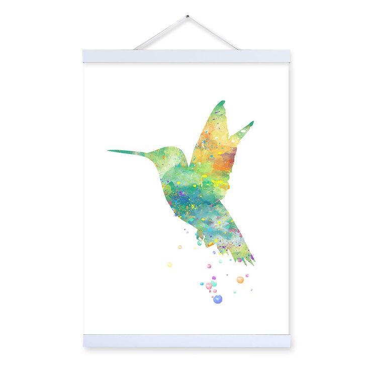 Original Watercolor aves animales impresiones del cartel cuadros abstractos inconformista arte decoración de la pared de la lona pintura sin marco regalos en Pintura y Caligrafía de Casa y Jardín en AliExpress.com | Alibaba Group