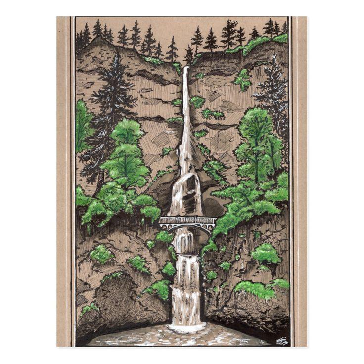 Multnomah Falls, Portland Oregon landscape drawing