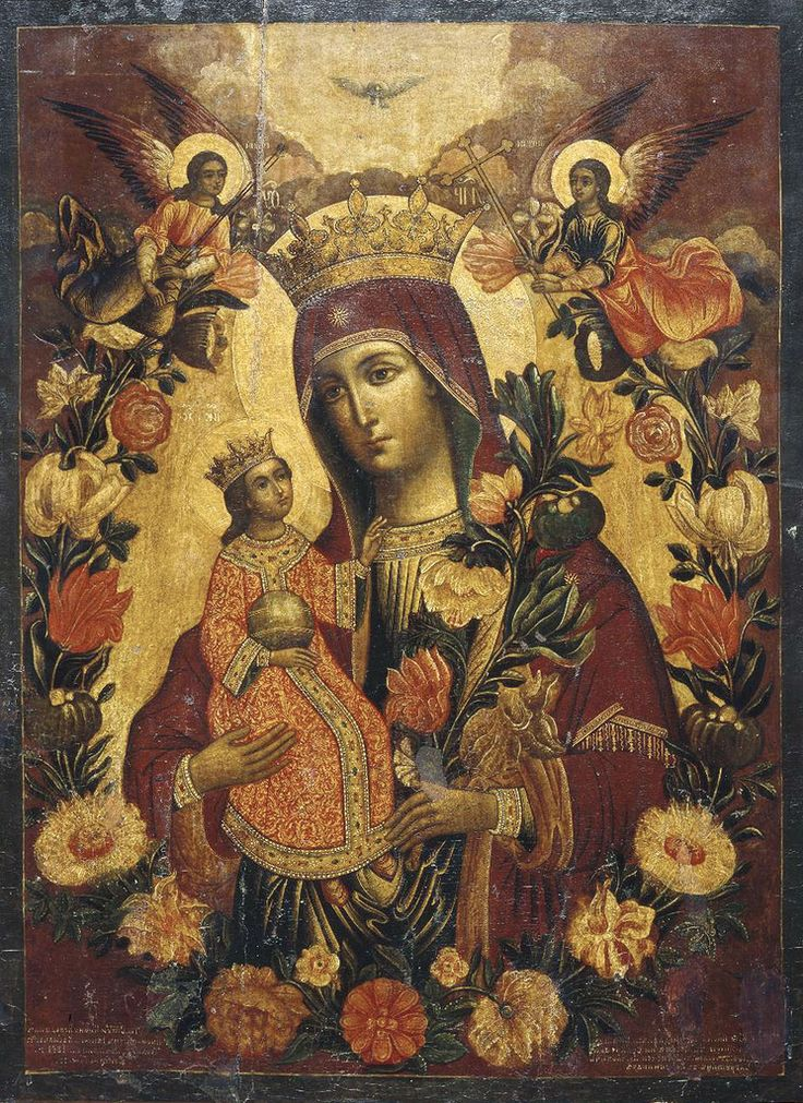 """Russian Orthodox icon of the Mother of God known as Икона Божией Матери """"Неувядаемый цвет"""