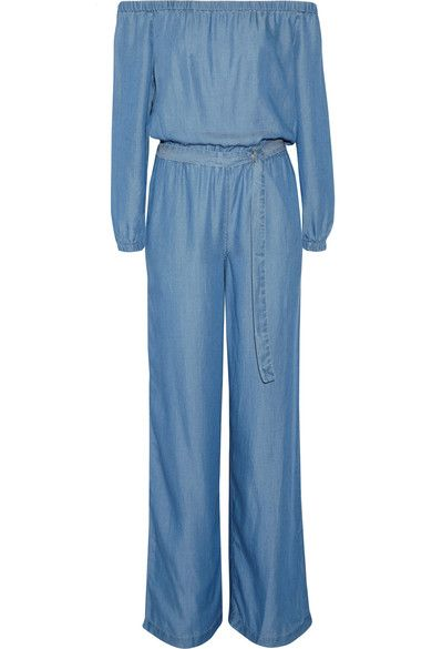 MICHAEL Michael Kors - Off-the-shoulder Chambray Jumpsuit - Blue - x small