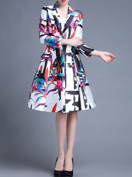White Printed Polyester Long coat
