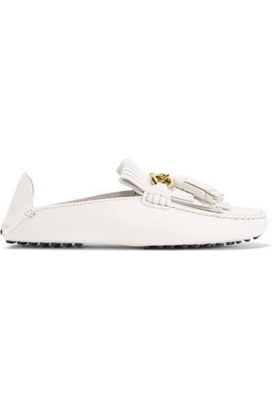 Tod's - Gommino Fringed Leather Loafers - Off-white - IT38.5