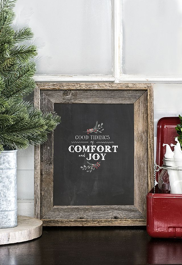 """""""Good tidings of comfort and joy!"""" Be sure to print a copy of this beautiful Christmas Chalkboard Printable. http://livelaughrowe.com"""