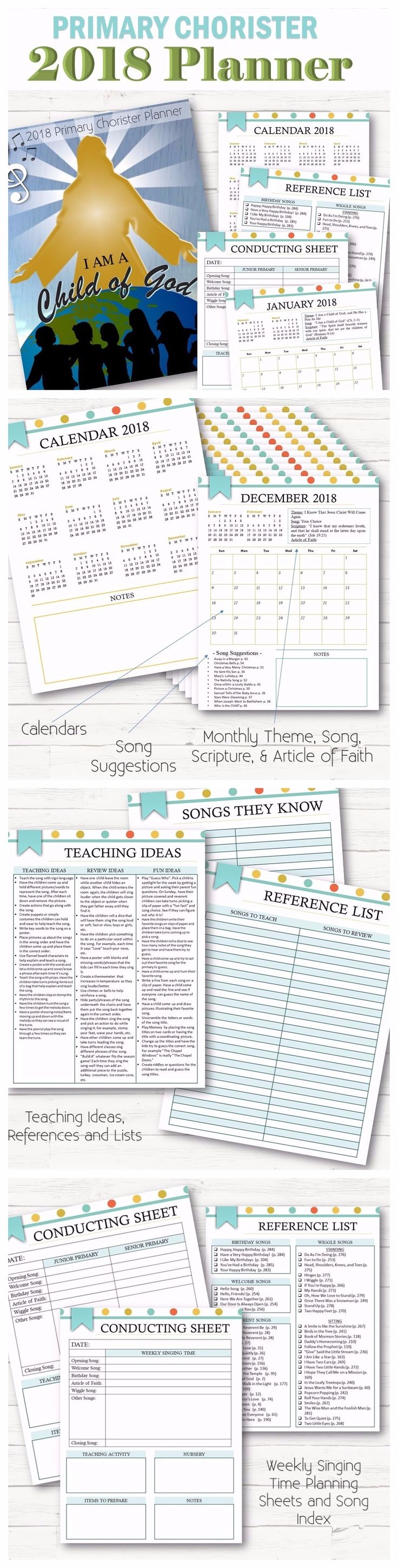 Primary Chorister planning done for you with the 2018 curriculum! An all in one planner that tells you the monthly song, scripture, theme, and Article of Faith, along with song suggestions by month, teaching ideas, reference lists, planning pages, etc. Everything in one convenient place! Perfect for Choristers and Subs!