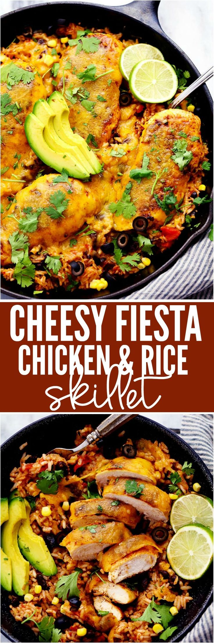 Cheesy Fiesta Chicken and Rice Skillet is made in just one skillet and perfect for busy nights! The rice has wonderful flavor and is filled with black beans, corn, and fire roasted tomatoes. Topped with taco seasoned chicken and smothered in melted cheese this meal will be loved by the entire family!