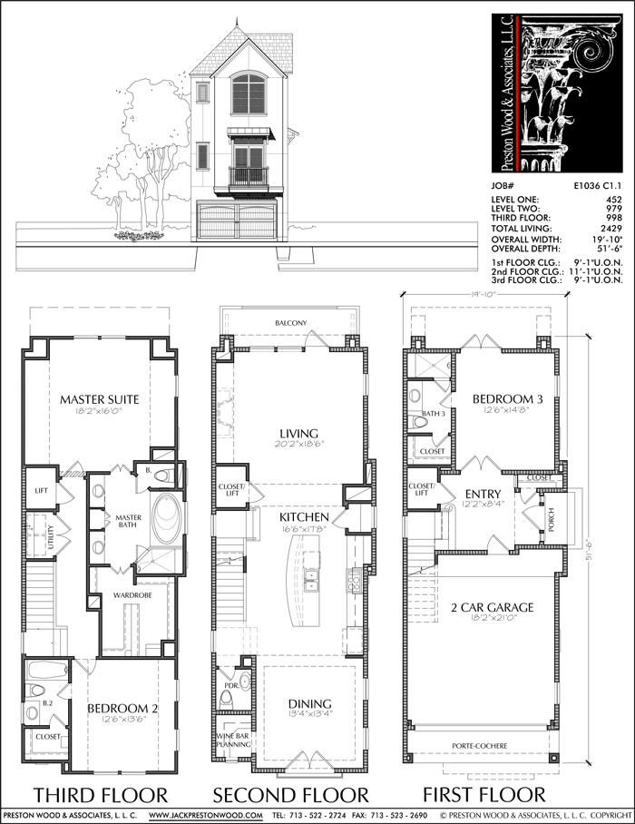 Three Story Townhouse Plan E1036 C1 1 Condo Floor Plans Narrow House Plans Floor Plans