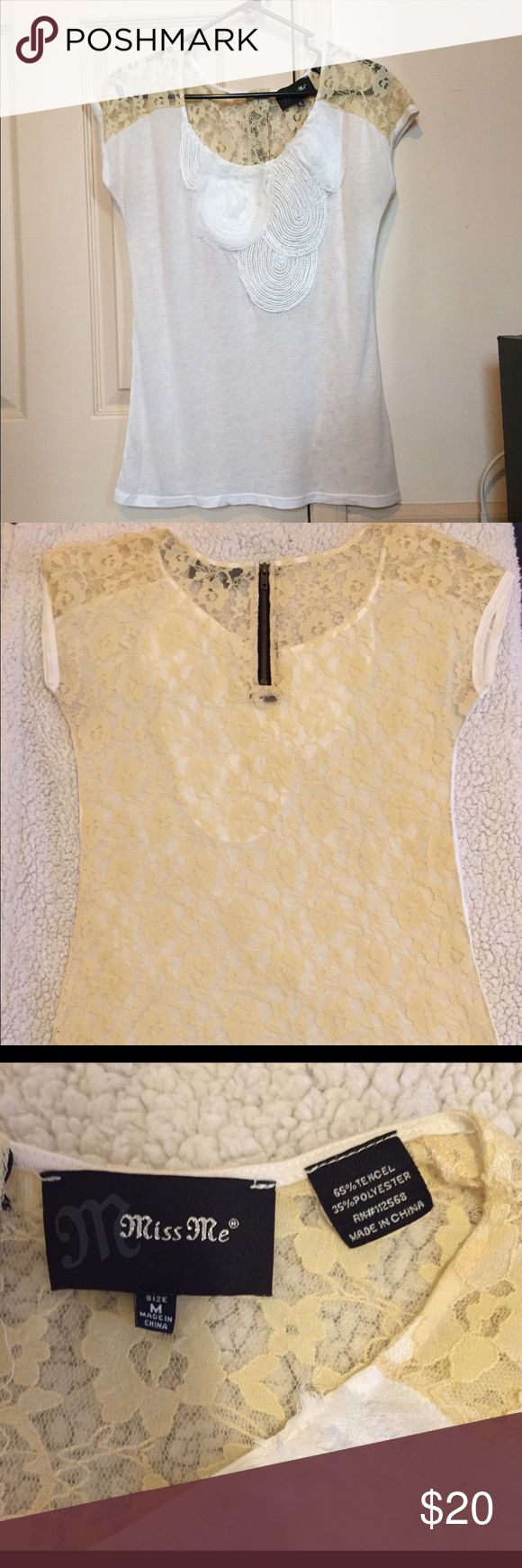 Miss Me Shirt Miss Me brand white tshirt with beige lace on the back and shoulders.  Zipper on back; detail of front of the shirt in picture 4. Miss Me Tops Tees - Short Sleeve