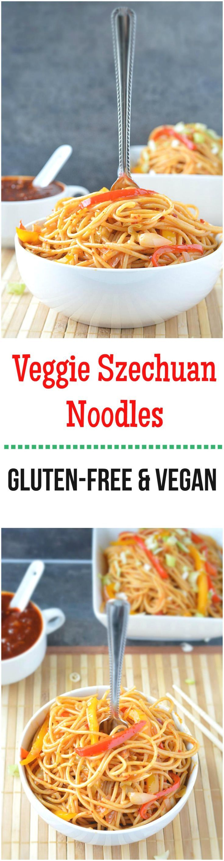 Thin noodles combined with veggies are tossed in hot and fiery szechuan sauce making it a delicious and flavorful vegan meal!