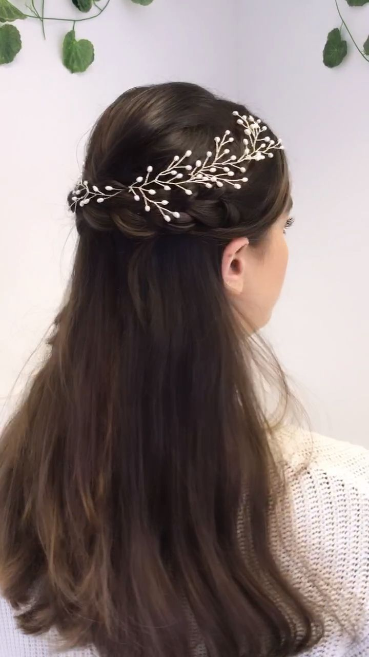 Mix and match coordinating styles to create your own hairvine look - here we've pinned three MAY hairpins in the right of this half up hairstyle and pinned the SMALL ROSEMARY hair vine into the left to create a relaxed botanical style with a classic edge thanks to the use of traditional bridal materials - silver plated wire and freshwater pearls. You can create similar looks unique to you with lots of our coordinating styles - all handmade in our Sheffield, UK, studio and shipping worldwide.