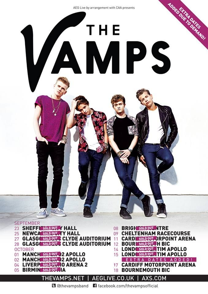 Almost ALL dates for The Vamps upcoming UK tour are sold out! Extra dates have been added to Bournemouth and Cardiff!