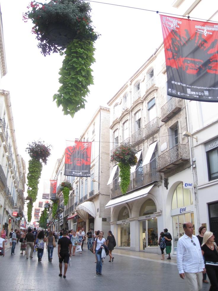 Pedestrian street in Montpellier, France