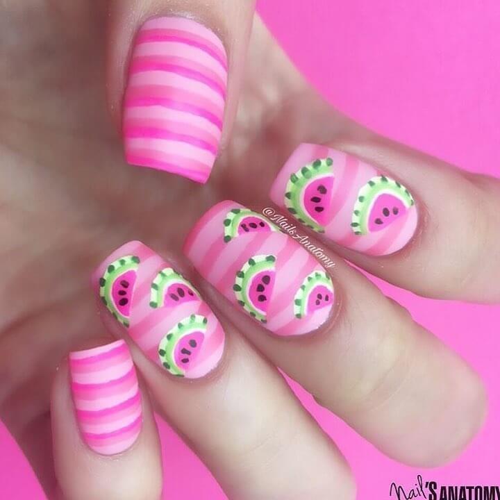 diseño de uñas con sandias para niñas #unasdecoradas