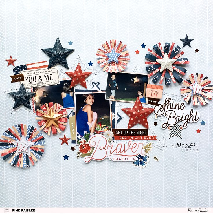 The Sweet Freedom collection is perfect to create embellishments for your Fourth of July layouts. @pinkpaislee @enzamg #July4th #fireworks #stars
