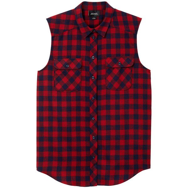 Monki Petra flannel shirt ($11) ❤ liked on Polyvore featuring tops, shirts, plaid, tank tops, cheery check, red checked shirt, checkered shirt, red flannel shirt, red top and plaid top